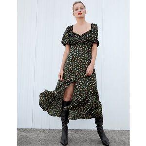 Nwt Zara Floral Black Midi Dress S